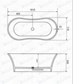 Square Bathtub ,Contemporary Bathtub BS-8601
