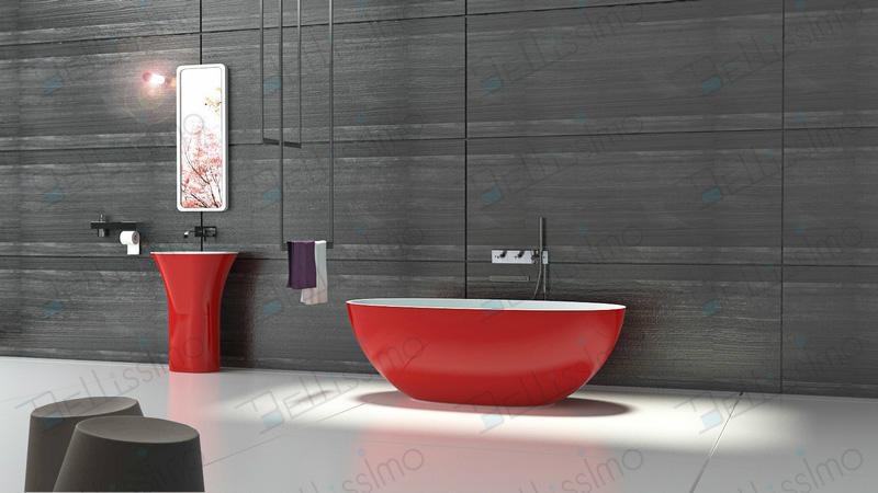 Red tubs,Oval stone bathtub,hot tub,bathtub manufacturer BS-8628 6