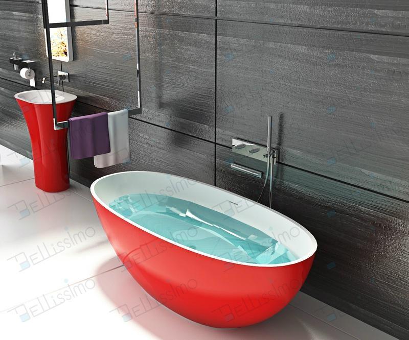 Red tubs,Oval stone bathtub,hot tub,bathtub manufacturer BS-8628 4