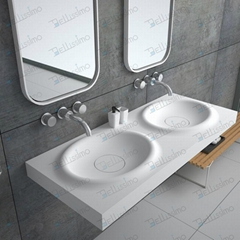 Best Price Man Made Stone Basin,  Resin Wall-hung Sink ,double Sink BS-8421