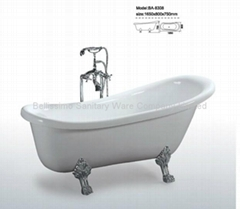 Acrylic colored claw foot resin bath tub BS-6308