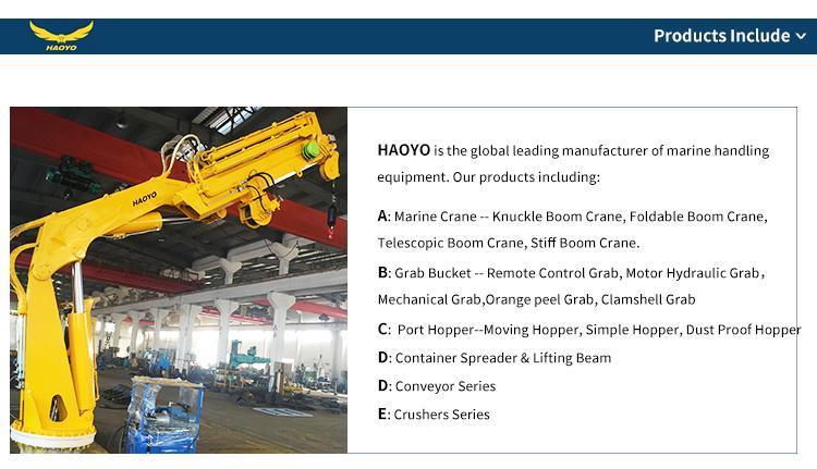 5T 10M Stiff  Boom Hydraulic Deck Marine Crane  10