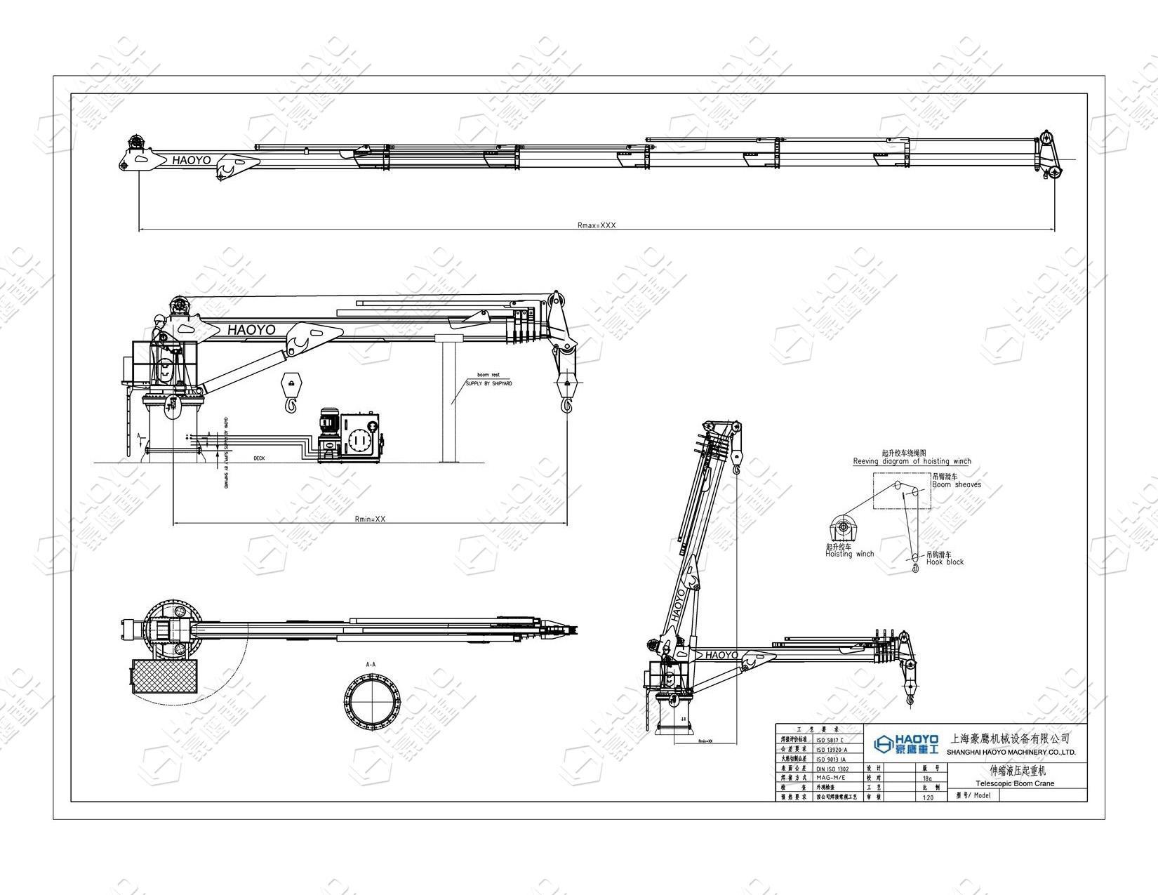Ship Hydraulic Telescopic Boom Marine Crane 4