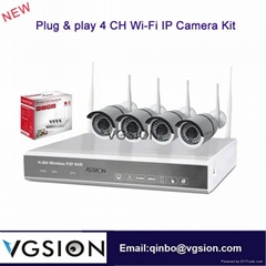 4CH WiFi IP Camera Kit And 4CH Wireless NVR Kit Home Security Camera System