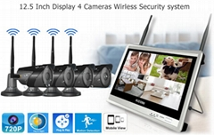 12.5 inch Disdplay 4 camera Wireless Security system