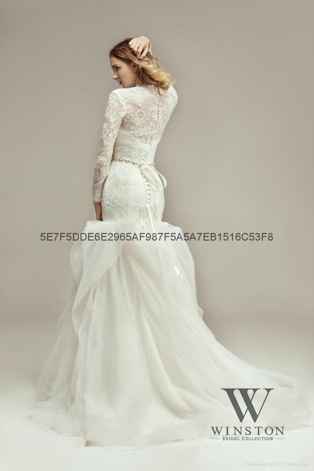 2014新款魚尾蕾絲釘珠婚紗 2