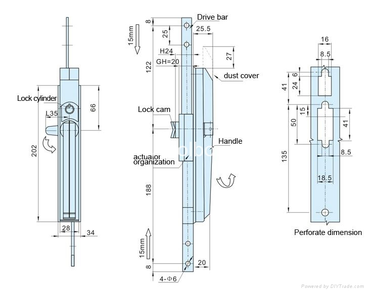 MS830 Three point Si  er Color Cabinet Rod Lock Manufacturers 2