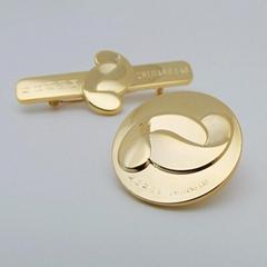 纯铜镀24K金徽章定制