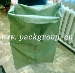 sell green pp woven bags for construction