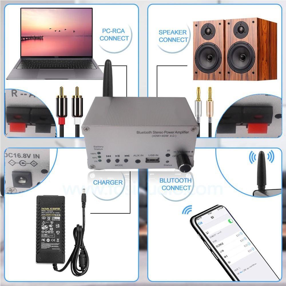 Bluetooth power amplifier 40W+40W output/Built in batte4000mAh/external speakers 2