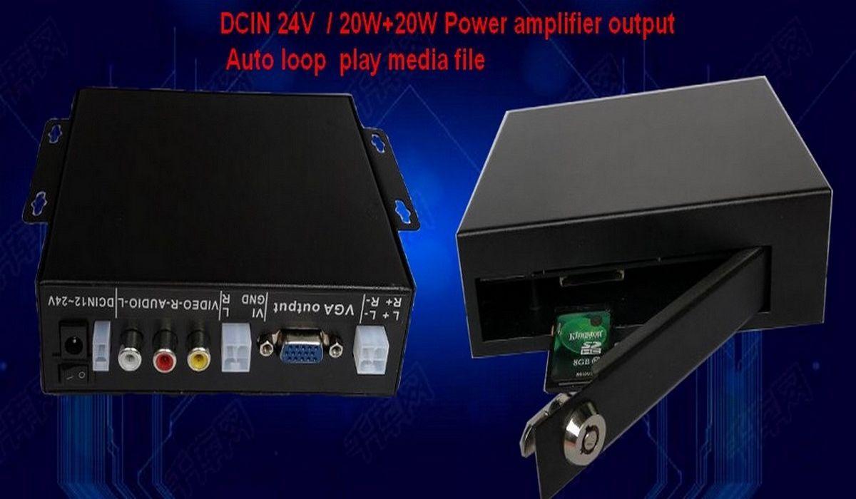 Auto loop media file player 720p media player DC12V to 24V