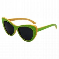 Cat eye sunglasses bamboo wood polarized women