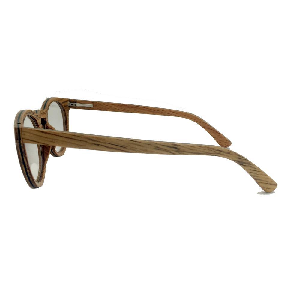 Round wood frame optical eye glasses women fashion 4