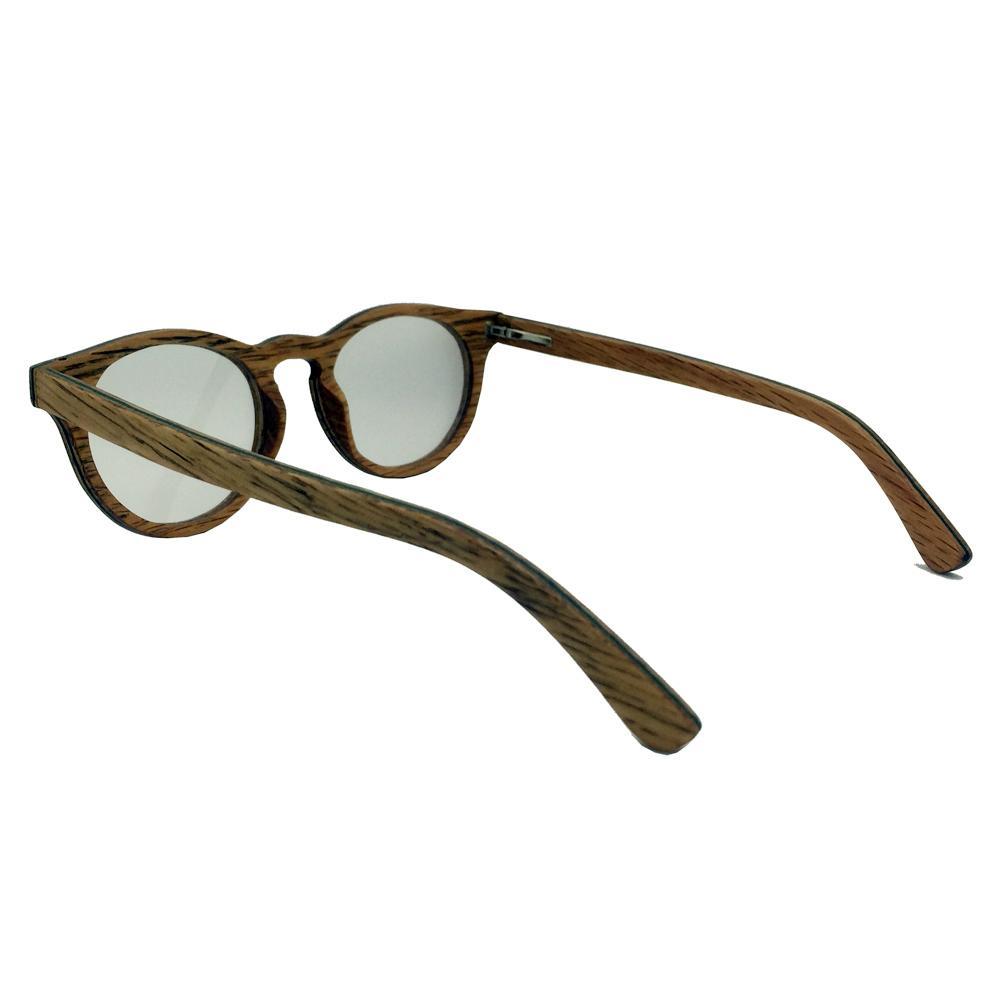 Round wood frame optical eye glasses women fashion 3