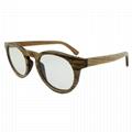 Round wood frame optical eye glasses women fashion 1