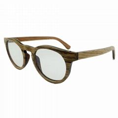 Round wood frame optical eye glasses