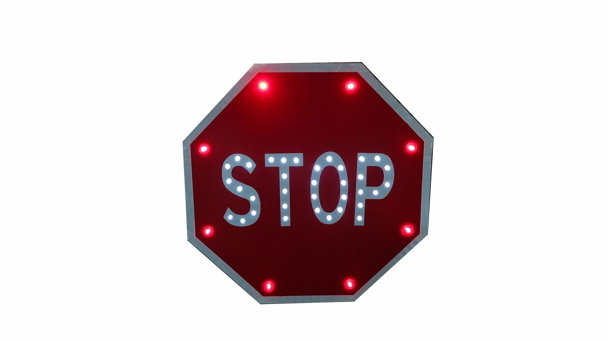 Solar traffic sign schoolbus stop sign road safety marker 4