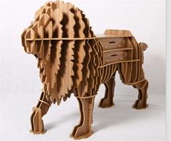 創意獅子書櫃裝飾自然原木色簡約北歐風格積木拼裝組裝動物壁飾