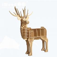 麋鹿头壁挂原木动物头墙饰壁饰田园欧式创意家居装饰品