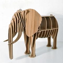 創意大象書櫃裝飾自然原木色簡約北歐風格積木拼裝組裝動物壁飾