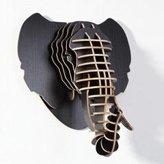创意大象装饰自然原木色简约北欧风格积木拼装组装动物壁饰