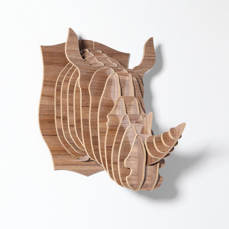 创意飞天独角兽装饰自然原木色简约北欧风格积木拼装组装动物壁饰 2