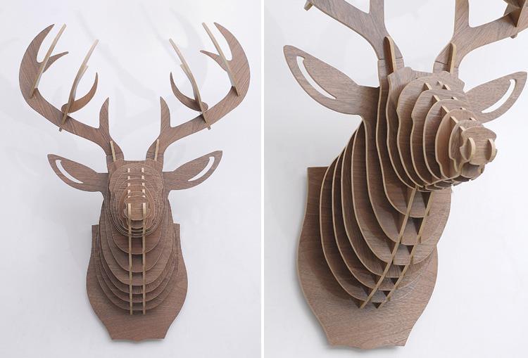 创意飞天独角兽装饰自然原木色简约北欧风格积木拼装组装动物壁饰 3