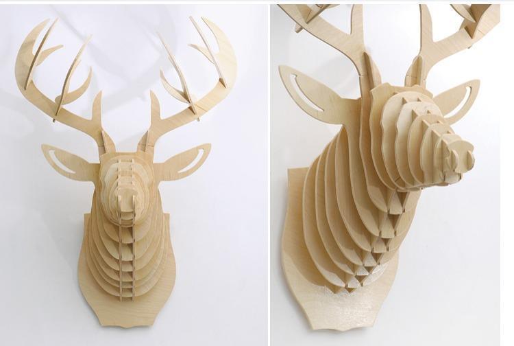 创意飞天独角兽装饰自然原木色简约北欧风格积木拼装组装动物壁饰 5