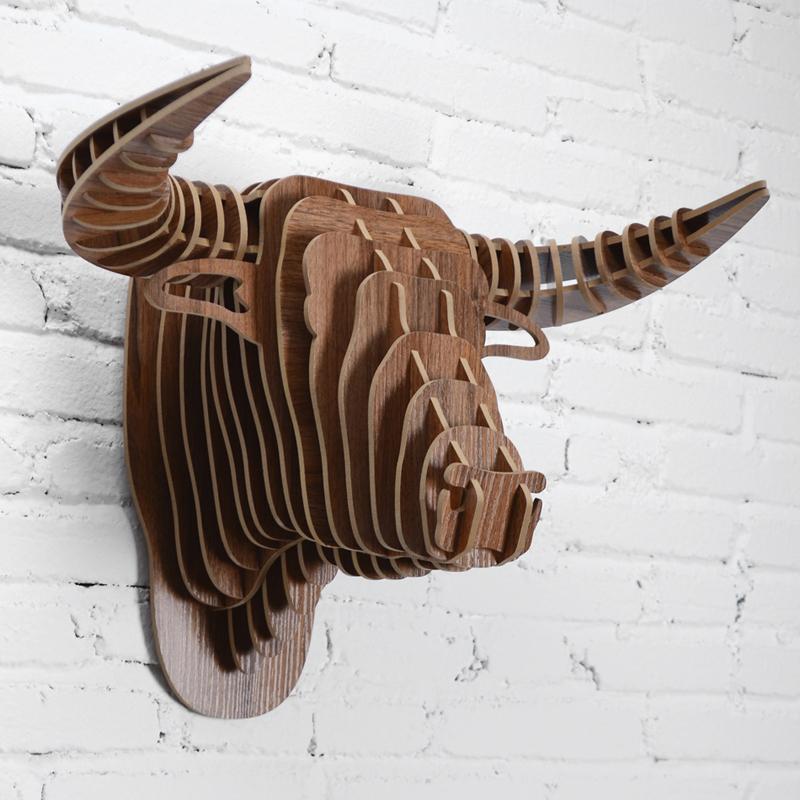 創意飛天獨角獸裝飾自然原木色簡約北歐風格積木拼裝組裝動物壁飾 7