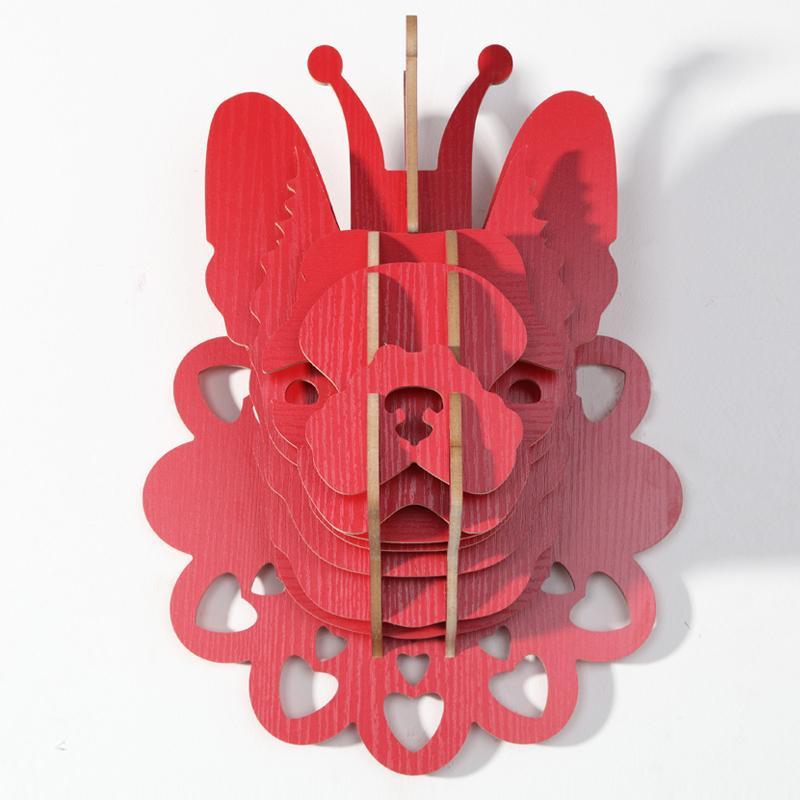 創意飛天獨角獸裝飾自然原木色簡約北歐風格積木拼裝組裝動物壁飾 8