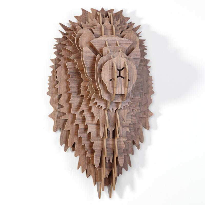创意飞天独角兽装饰自然原木色简约北欧风格积木拼装组装动物壁饰 9