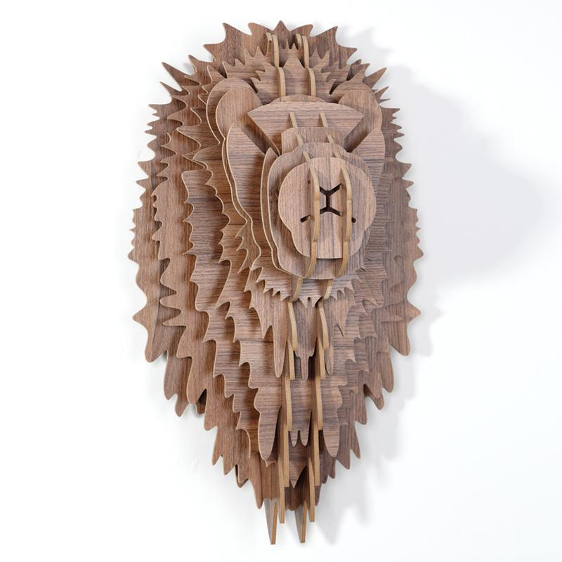 創意飛天獨角獸裝飾自然原木色簡約北歐風格積木拼裝組裝動物壁飾 9