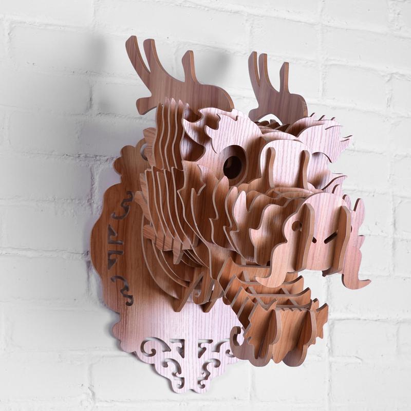 創意飛天獨角獸裝飾自然原木色簡約北歐風格積木拼裝組裝動物壁飾 10