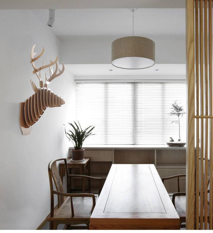 创意飞天独角兽装饰自然原木色简约北欧风格积木拼装组装动物壁饰 12