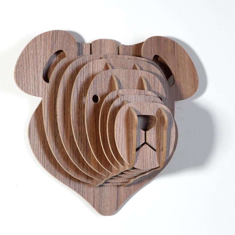 創意飛天獨角獸裝飾自然原木色簡約北歐風格積木拼裝組裝動物壁飾 14