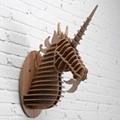 創意飛天獨角獸裝飾自然原木色簡約北歐風格積木拼裝組裝動物壁飾 15