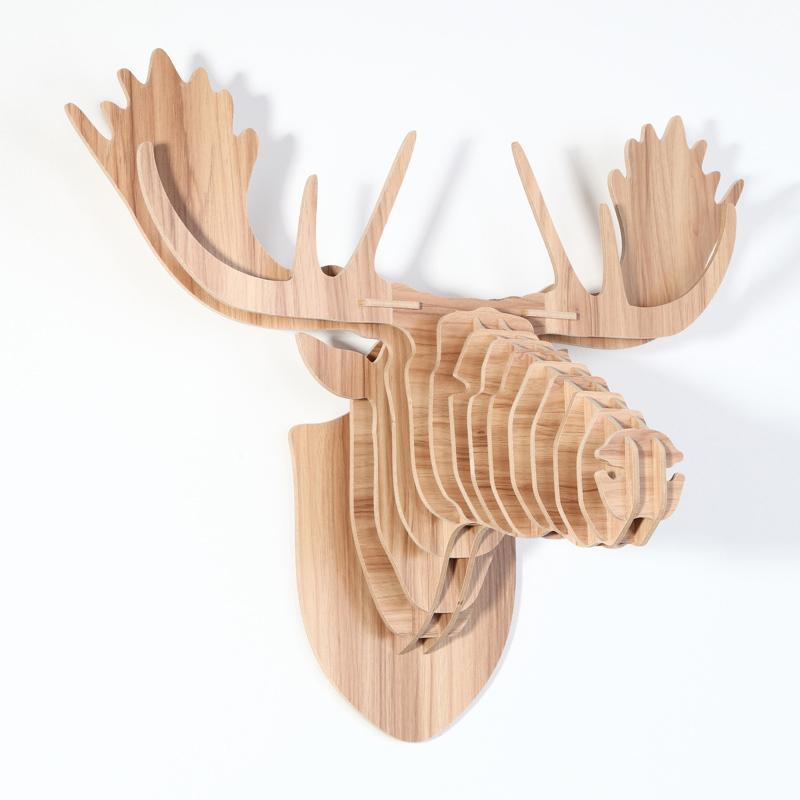創意飛天獨角獸裝飾自然原木色簡約北歐風格積木拼裝組裝動物壁飾 18
