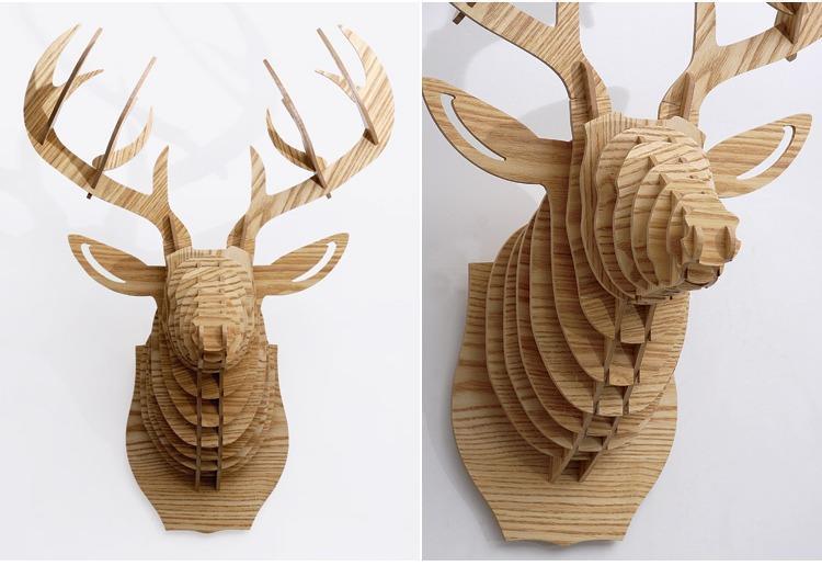 创意飞天独角兽装饰自然原木色简约北欧风格积木拼装组装动物壁饰 19