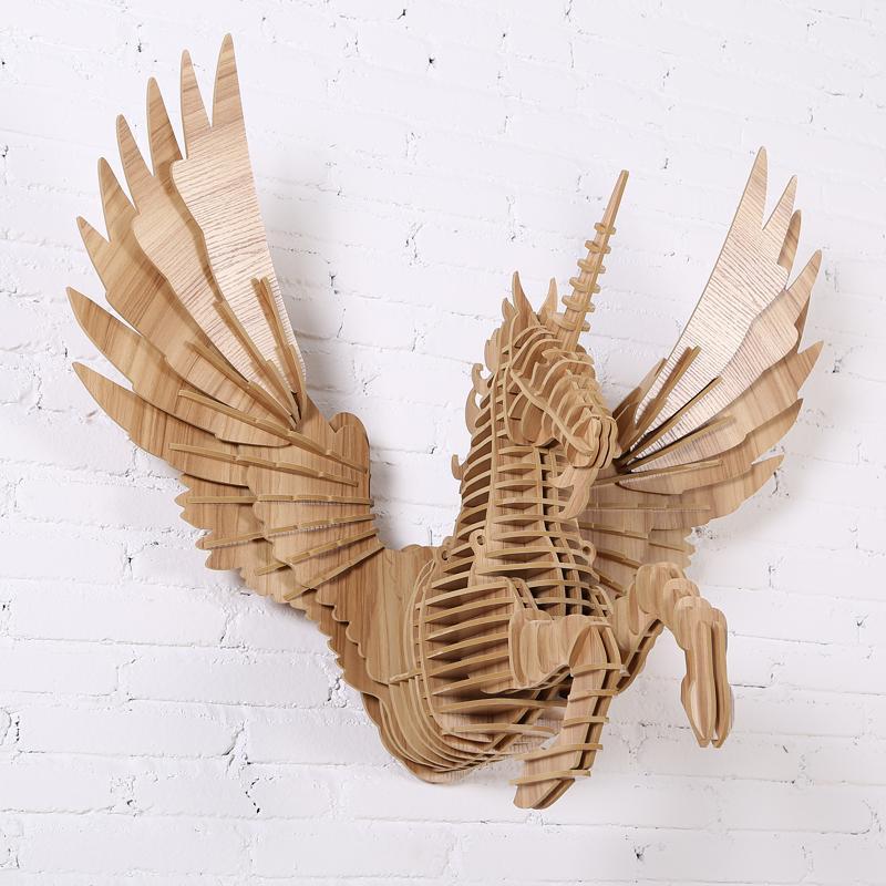 創意飛天獨角獸裝飾自然原木色簡約北歐風格積木拼裝組裝動物壁飾 1