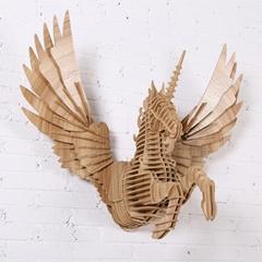 創意飛天獨角獸裝飾自然原木色簡約北歐風格積木拼裝組裝動物壁飾