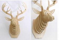 麋鹿頭壁挂原木動物頭牆飾壁飾田園歐式創意家居裝飾品