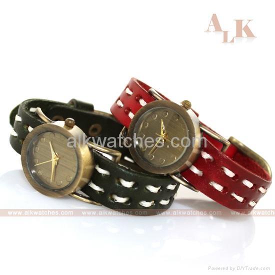 vintage cow leather bracelet antique fashion watch 4