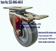 中型4寸304不鏽鋼支架帶全剎靜音萬向輪