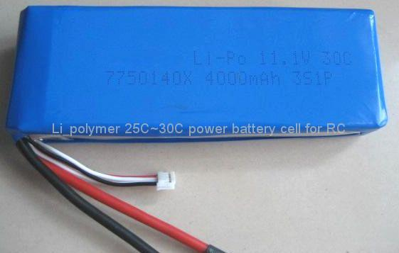 3.7V25C,30C,2200mAh li-polymer battery cell for RC 2