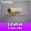 18650 3.2V1100mAh lifepo4 battery cell