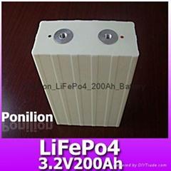 3.2V200Ah lifepo4 battery cell