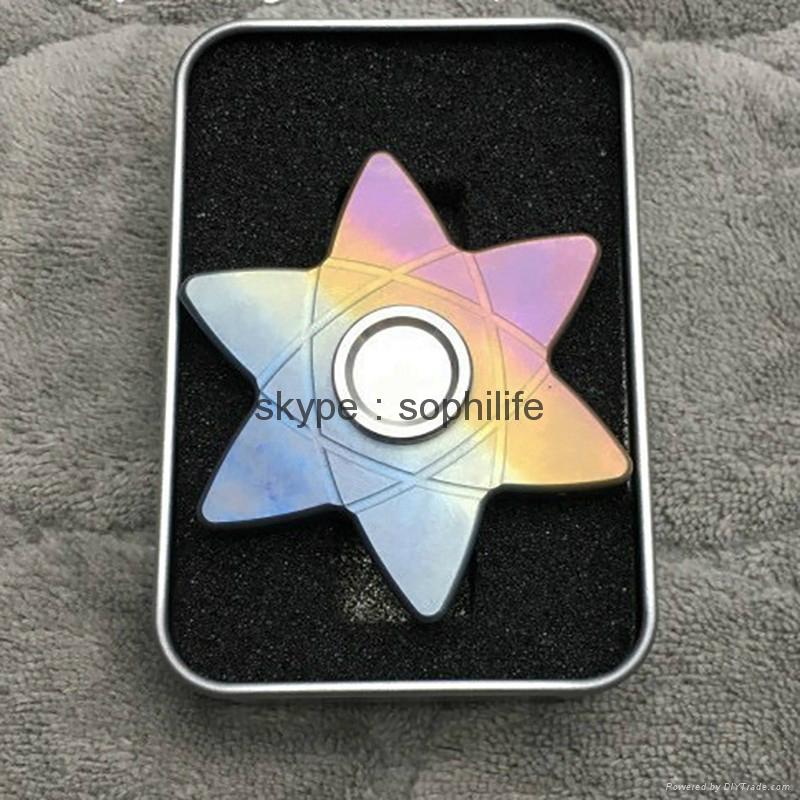 Titanium alloy Tri-Spinner Fidget Hand Spinner Triangle Torqbar  Finger toys  1