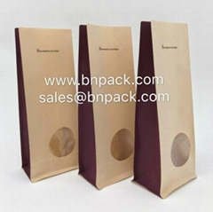 Block Bottom Kraft Paper Pouch With Clear Window