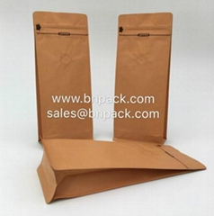 Block Bottom Craft Paper Coffee Bags With Valve
