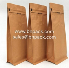 Block Bottom Craft Paper Lined Foil Coffee Pouch